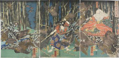 KUNIYOSHI Yoshitsune Triptych