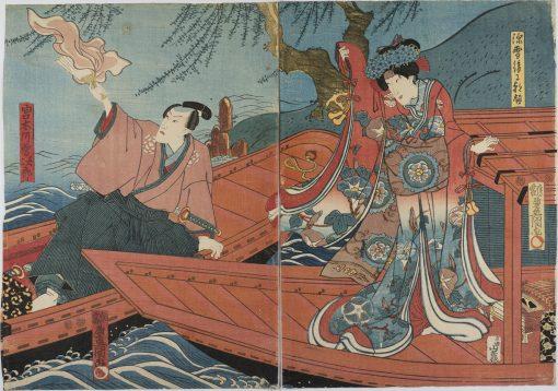 KUNISADA Actors in Boats