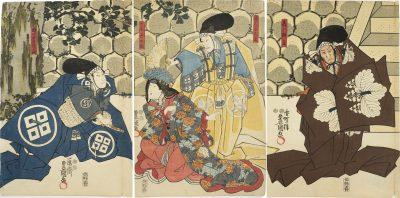 KUNISADA Act 1 Chushingura triptych