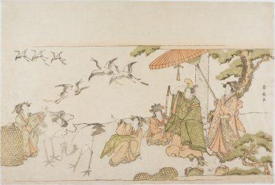 Shunsen Yoritomo releasing cranes at Kiyomizudera