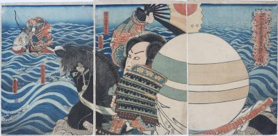 Kumagai Drives Atsumori into the sea at the battle of Ichi no Tani